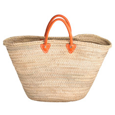 Large basket with orange leather handles