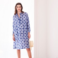 Shirt dress in square shibori