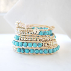 Personalised natural stone & leather wrap bracelet in turquoise & white