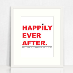 Happily ever after personalised love print