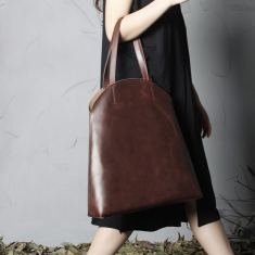Large Leather tote shopping bag