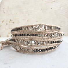 Crystal And Vanilla Leather Multi Wrap Bracelet