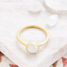 Cupcake Smaller Ring In Gold Plate With Moonstone