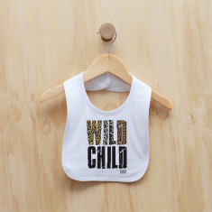 Wild child personalised animal print bib
