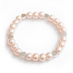 Glass pearl bracelet with hearts