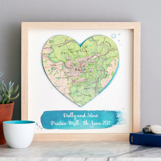 Personalised map location heart watercolour print