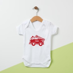 Personalised Fire Engine Baby Grow