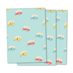 Vintage caravan wrapping paper (pack of 3)