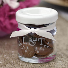 Personalised mini glass favour jar with initials (set of 10)