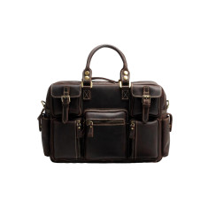 Leather laptop bag briefcase in dark brown