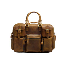 Leather briefcase laptop bag in brown