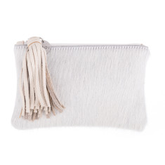 Chloe in Cream Calf-Hair/ Cream Leather Clutch