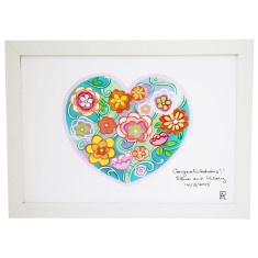 Personalised flower heart framed art print