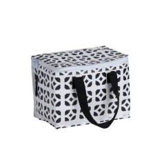 Insulated lunch box bag in Bricks Print