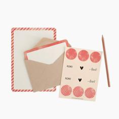 An April Idea pink spots and stripes writing set