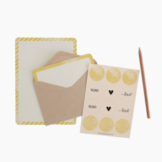 An April Idea yellow spots and stripes writing set