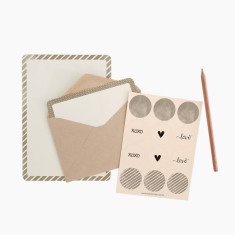 An April Idea beige spots and stripes writing set
