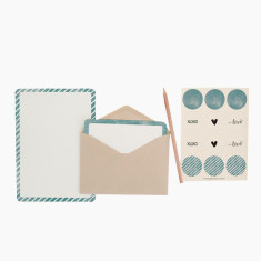 An April Idea teal spots and stripes writing set