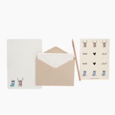 An April Idea moose loves raccoon writing set