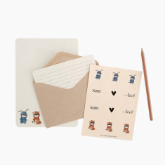 An April Idea rabbit loves fox writing set