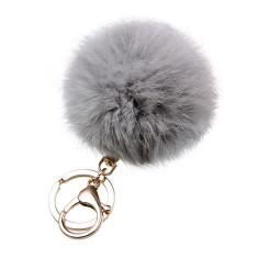 Fur key ring in grey