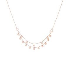 Grace Double Strand Disc Necklace in Rose Gold Plate
