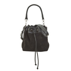 Frances bucket bag black suede