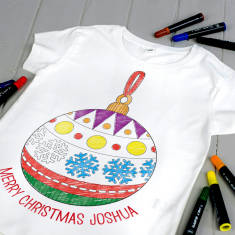 Personalised Colour Your Own Christmas Bauble T Shirt