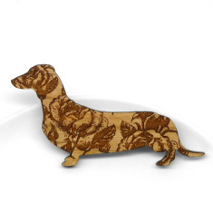 Wooden rose dachshund brooch