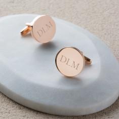Personalised Rose Gold Initial Cufflinks