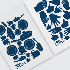 Hands and Dishes Tea Towels In Bold (Set Of 2)