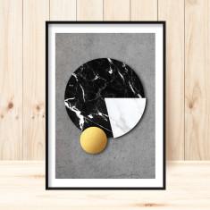 Concrete & marble spheres art print