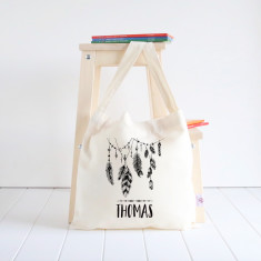 Feather Garland personalised library bag