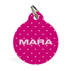 Personalised standard pet ID tag (Pink Hearts)