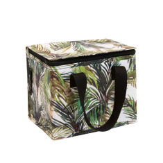 Insulated Lunch Box bag in Green Palm print