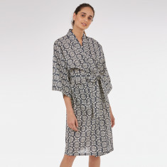 Wrap Over Kimono Robe in Black Block print