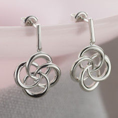 Ladies Sterling Silver Large Love Knot Earrings
