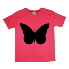 Kids' chalkboard t-shirt in red butterfly design