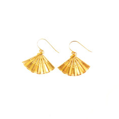 Gold oriental fan earrings in gift tin