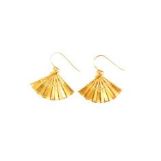 Gold oriental fan earrings in gift tin