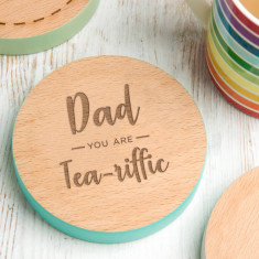 Fathers Day 'You Are Tea Riffic' Personalised Coaster