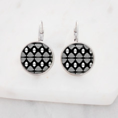 Black abstract pattern drop earrings in silver