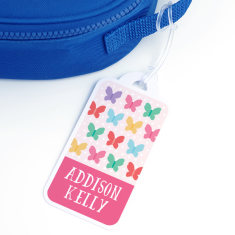 Personalised Butterfly School Bag Tag