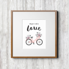 Tropical series art prints (bicycle with all you need is love text)