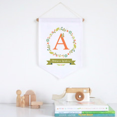 Floral wreath personalised pennant wall banner