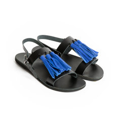 Sandalaki handmade Greek Tassel Sandals In Blue