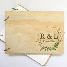 Personalised Bamboo wood monogram/initial wedding guest book