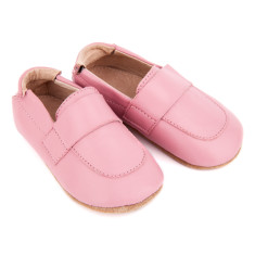 Pre-walker leather loafer shoes in pink