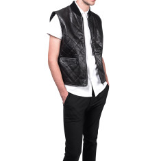 Black wyatt quilted leather vest