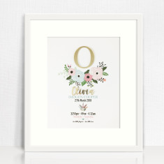Gold Mirror Flowers Personalised Birth Details Print